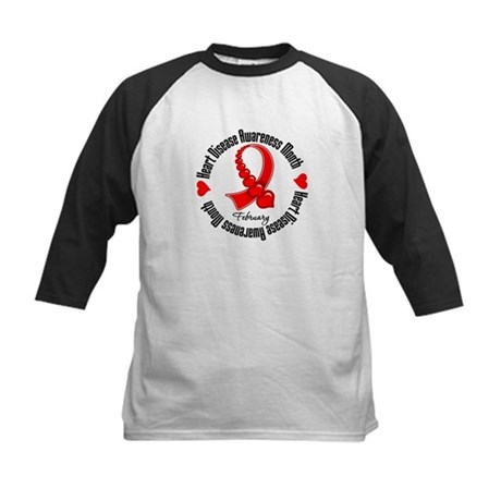 RibbonHeartDiseaseMonth Kids Baseball Jersey