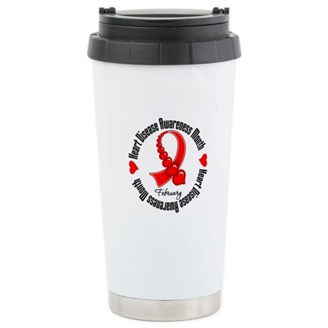 RibbonHeartDiseaseMonth Ceramic Travel Mug