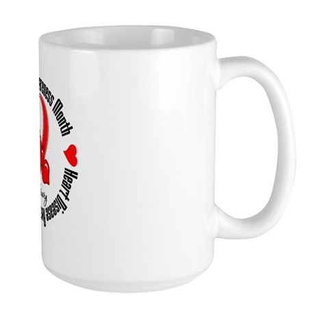 RibbonHeartDiseaseMonth Large Mug