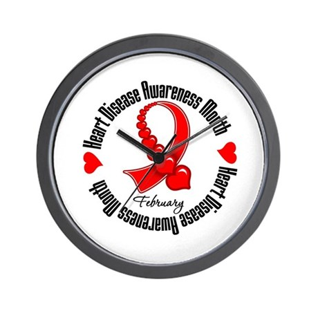 RibbonHeartDiseaseMonth Wall Clock