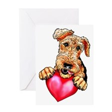 Airedale Holding Heart Greeting Card
