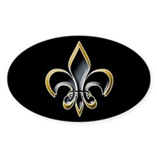 Fleur de Lis on BLK Oval Bumper Stickers