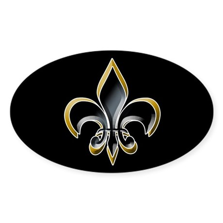 Fleur de Lis on BLK Oval Sticker