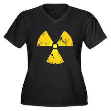 Distressed Radiation Symbol Women's Plus Size V-Ne