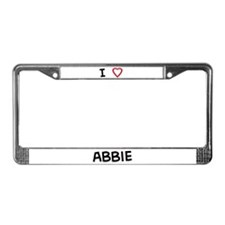 I Love abbie License Plate Frame