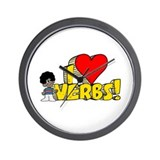I Heart Verbs - Schoolhouse Rock! Wall Clock