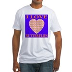 I Love Butterflies Heart Flor Fitted T-Shirt