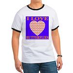 I Love Butterflies Heart Flor Ringer T