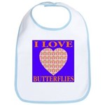 I Love Butterflies Heart Flor Bib