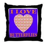 I Love Butterflies Heart Flor Throw Pillow