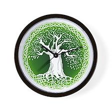 Faded Green Celtic Wisdom Tree Wall Clock