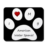 Black I Love My American Water Spaniel Mouse Pad