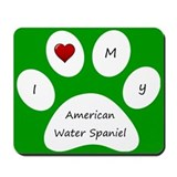 Green I Love My American Water Spaniel Mouse Pad