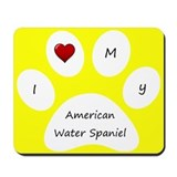 Yellow I Love My American Water Spaniel Mouse Pad
