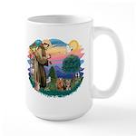 St Francis / 2 Yorkshire Terriers Large Mug