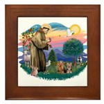 St Francis / 2 Yorkshire Terriers Framed Tile