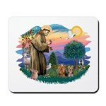 St Francis / 2 Yorkshire Terriers Mousepad