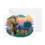 St Francis / 2 Yorkshire Terriers Greeting Card