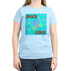 Peace & Love Butterflies Skyb Women's Pink T-Shirt