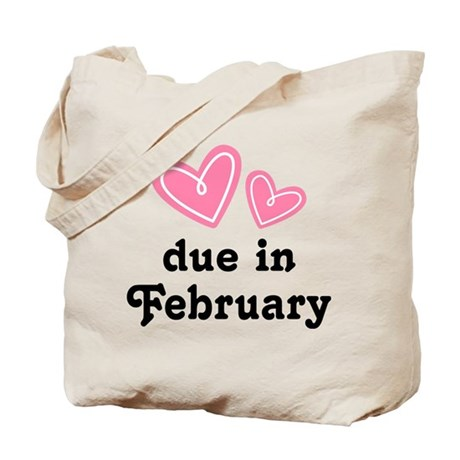 Pink Heart February Due Date Tote Bag