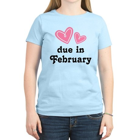Pink Heart February Due Date Women's Light T-Shirt