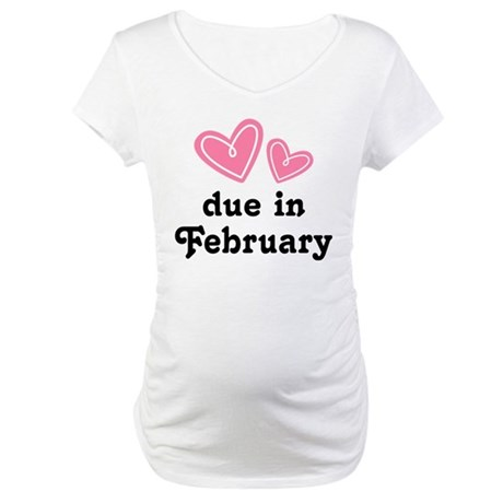 Pink Heart February Due Date Maternity T-Shirt