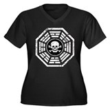 DHARMA Skull Women's Plus Size V-Neck Dark T-Shirt