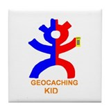 Geocaching kid Tile Coaster