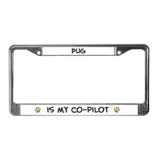 Co-pilot: Pug License Plate Frame