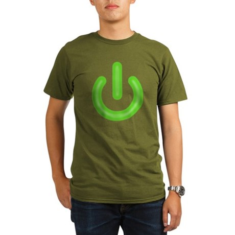 Power Button Organic Mens Dark T-Shirt
