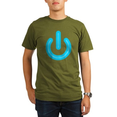 Blue Power Button Organic Mens Dark T-Shirt