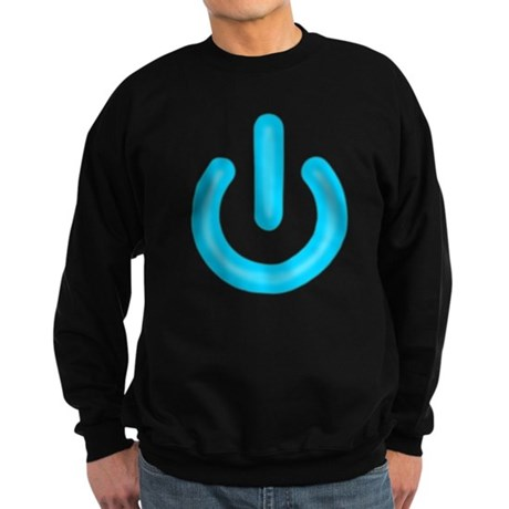 Blue Power Button Dark Sweatshirt