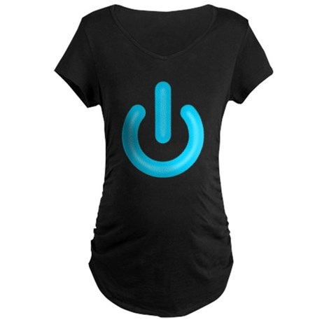 Blue Power Button Maternity T-Shirt