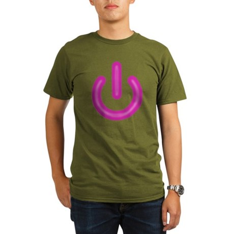Pink Power Button Organic Mens Dark T-Shirt