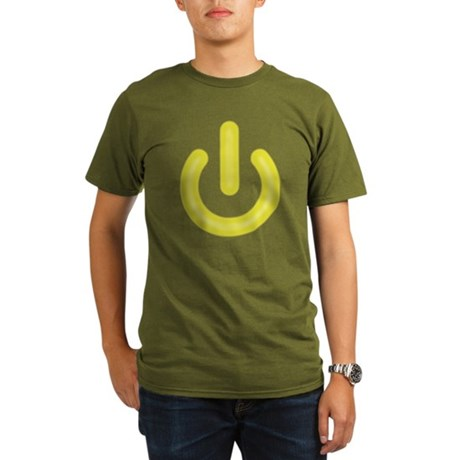 Yellow Power Button Organic Mens Dark T-Shirt