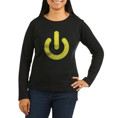 Yellow Power Button Womens Long Sleeve Dark T-Shi