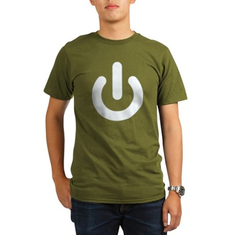 White Power Button Organic Mens Dark T-Shirt