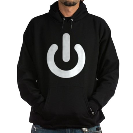 White Power Button Dark Hoodie