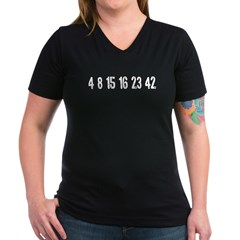 Lost Numbers Women's V-Neck Dark T-Shirt