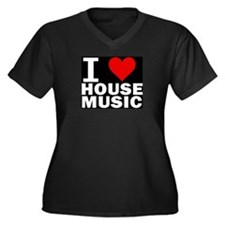 I LOVE HOUSE MUSIC Women's Plus Size V-Neck Dark T