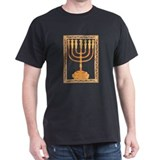 Golden Menorah Black T-Shirt