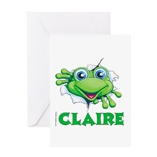 Claire Frog tearing Greeting Card