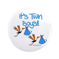 "It's Twin Boys with Storks 3.5"" Button"