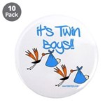 It's Twin Boys with Storks 3.5&quot; Button (10 pack)