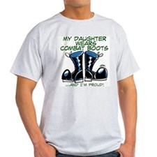 My Daughter Wears Combat Boot Ash Grey T-Shirt