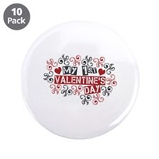"My 1st Valentine's Day 3.5"" Button (10 pack)"