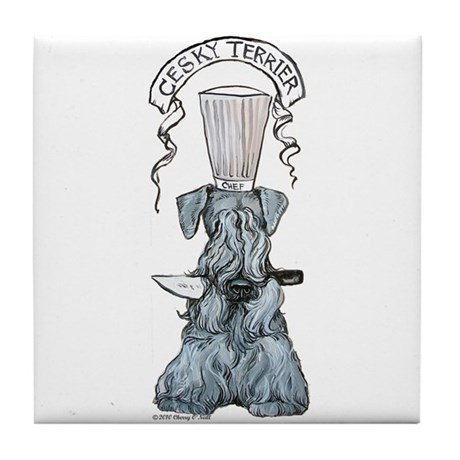 Cesky Terrier Chef Tile Coaster