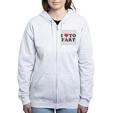 I Love To Fart Womens Zip Hoodie