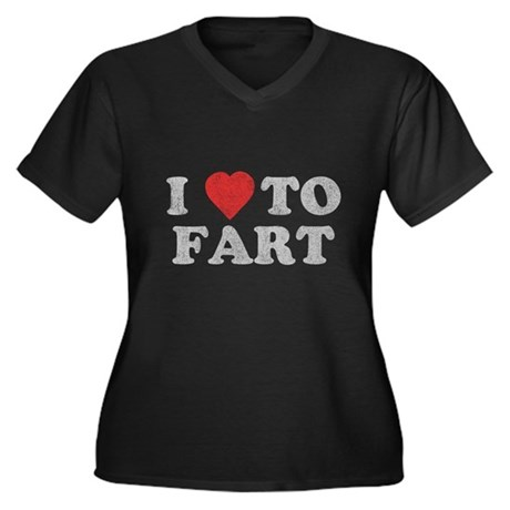 I Love To Fart Womens Plus Size V-Neck Dark T-Shi