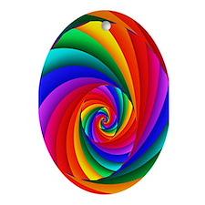 """Color 6"" Fractal Art Oval Ornament"